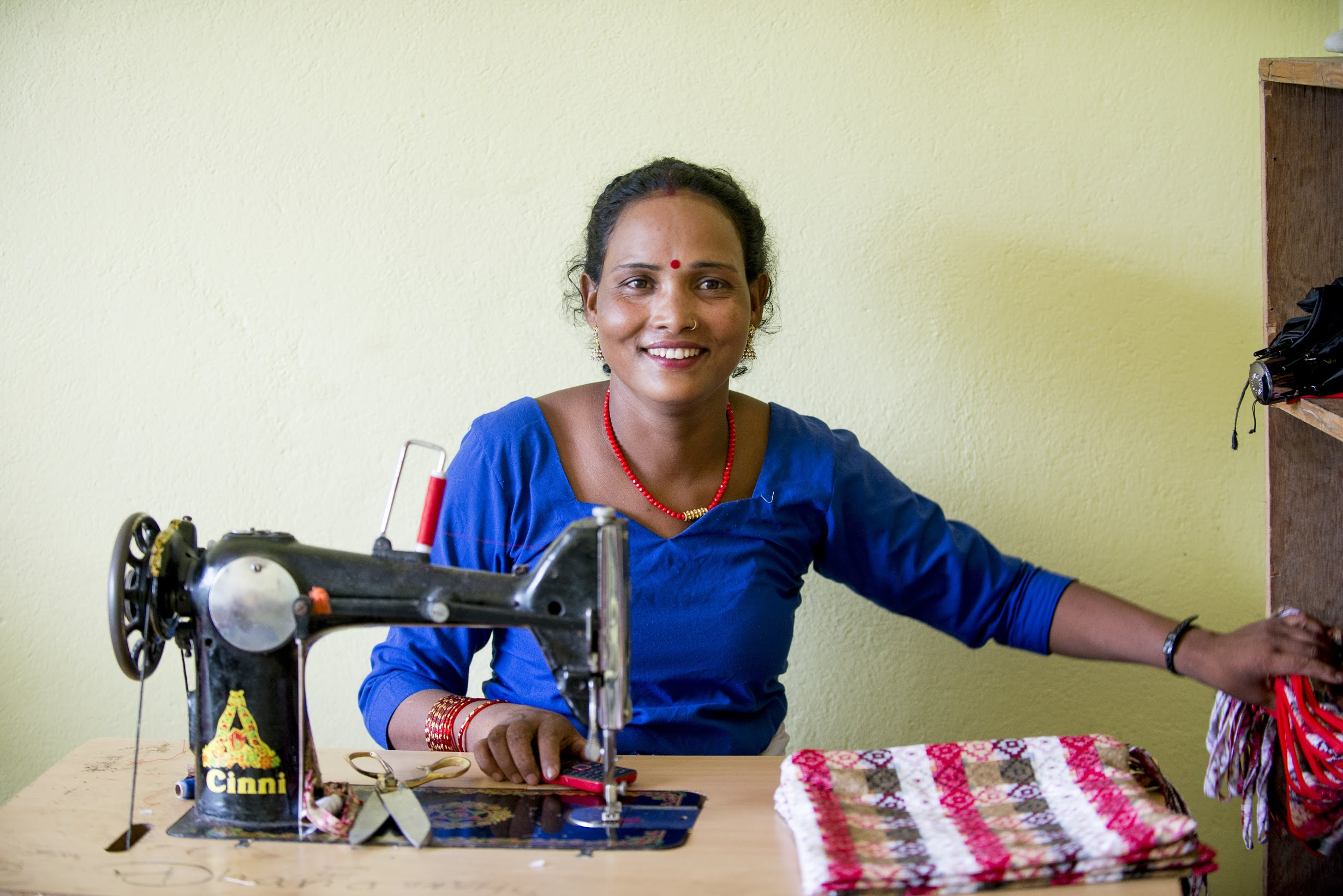 Dhana sewing at the Kopila Valley Women's Center