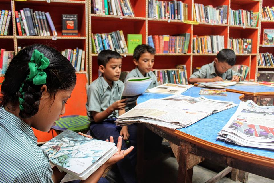 Classes are in the library throughout the day at Kopila